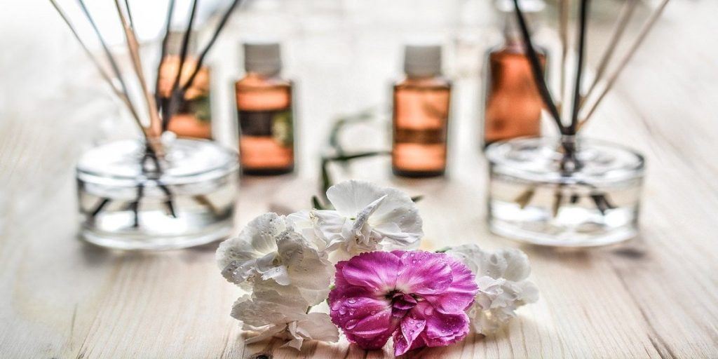 bottles of premium fragrance oils for the secret of the perfect candle